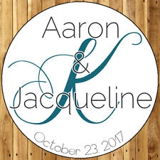 48 Round Glossy Monogram Personalized Wedding Favors Stickers 060717