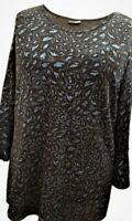 Ladies Glitter Special Occasion & Parties Navy / Black Embosed Tunic Top Blouse