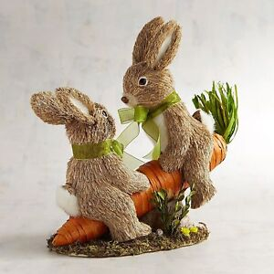 Pier 1 Imports Teeter & Totter the Natural Easter Bunnies on a SeeSaw SOLD OUT