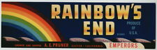RAINBOW'S END Vintage Exeter CA Grape Crate Label, ***AN ORIGINAL LABEL***