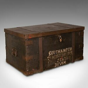 Antique Steamer Trunk, English, Pine, Iron, Carriage Chest, Victorian, C.1860