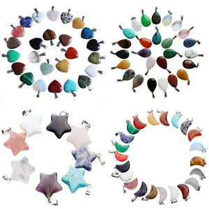 50pcs Natural Quartz Crystal Stone Pendants Healing Charms for jewelry making