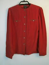 Vintage Pierre Cardin 100% Silk Blouse Top Women Sz 10 Rust Button Down Shirt