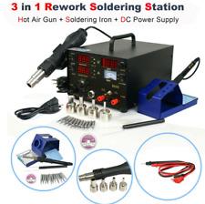 (853D 3-in-1 SMD Rework Station Hot Air Gun Soldering Iron DC Power Supply 800W