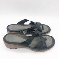 Merrell Sundial Cross Leather Cork Sandals Size 9 Black Air Cushion