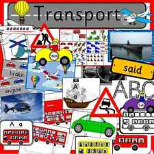 TRANSPORT topic resource pack on CD- EYFS, KS1, teaching, childminder, journeys