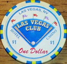 Old $1 LAS VEGAS CLUB Casino Poker Chip Vintage Antique BJ Mold Las Vegas NV