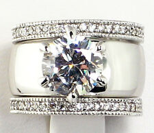 Wedding 3 Pc. Ring Set - Size 6 4.18 Ct. Wide Solitaire Cz Eternity Band Bridal