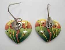 Parrot Heart Earrings Unique Porcelain Ceramic Green Orange Handmade New Gift