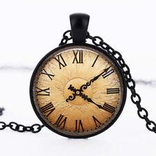 Old clock photo dome Black Cabochon Glass Necklace chain Pendant