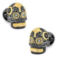 Day of the Dead Skull Cufflinks Black and 18k Gold Plated Sterling Silver
