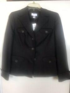 Ann Taylor LOFT Linen Blend Blazer Jacket-3 Button-Brown-Size 8P Petite-NWT