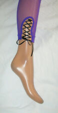 Purple Fishnet Tights, Black Lace Up Corset Trim. Footless Goth Summer 80s punk