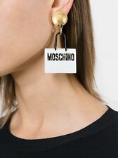 Moschino Couture X Jeremy Scott White and Black Shopping Bag Clip-On Earrings