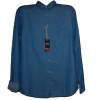 Hugo Boss Men's Blue Denim Cotton Shirt Size XL  Slim Fit New