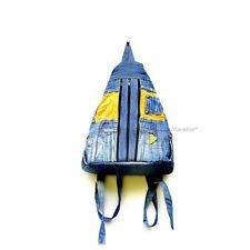 Casual Unisex Blue Jean Backpack Travel Bag Recycled Denim Jeans School Bookbag