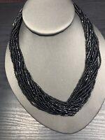 "Ladies Vintage Bohemian Basic Black Seed Multi Strand  Necklace Boho 18"""