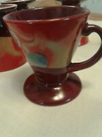 5 Vint.Expresso Cups Jester MardiGras hand painted &  Signed by Linda Firchtel.