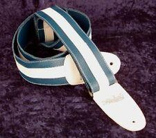 REBEL FANCY FAUX LEATHER GUITAR STRAP GTO SERIES BLUE / WHITE