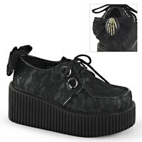 Demonia CREEPER-212 Black Platform Lace-Overlay Bow Skeleton Hand Mesh Shoes