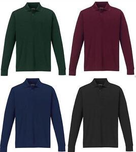 New Mens Plain Long Sleeve Pique Polo Shirt Top Work Wear T-shirt  S-3XL