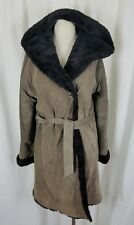 Vintage Suede Leather Deep Pile Faux Fur Lined Belted Hooded Wrap Coat Womens L