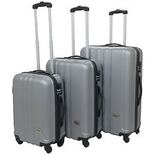 Hard Shell Suitcase Trolley Luggage Travel Cabin Bag Small Medium Large Case Set of 3 Silver