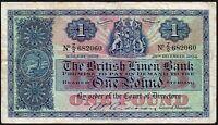1951-59 BRITISH LINEN BANK £1 BANKNOTE * Z/2 682060 * gF *