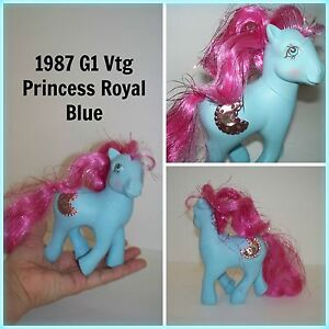 VTG G1 My Little Pony Hasbro Princess Royal Blue MLP Crescent Moon Pony