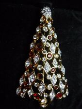 Swarovski SWAN Logo gold red clear Crystal Christmas Tree Pin Brooch signed