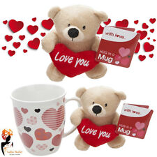 Valentines Gift Love Plush Teddy Bear in 14oz Hug in a Mug with Love Heart Print
