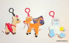 Rudolph the Red Nosed Reindeer Plush Backpack Key Clips Lot Set Build a Bear P69
