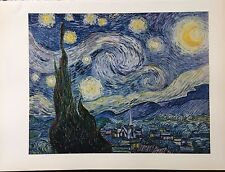 "1950 Vintage Full Color Art Plate ""THE STARRY NIGHT"" VAN GOGH LOVELY Lithograph"
