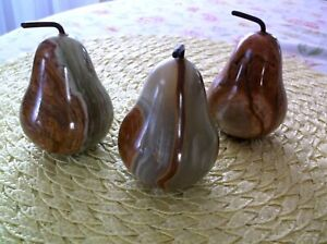 3 Marble Alabaster Stone Fruit  PEARS  Beautiful Colors  3 1/2""