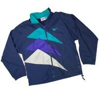 Vintage 90s Reebok Mens Track Jacket Blue Geometric Mesh Lined Full-Zip Vented S
