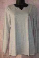 $39 LINGERIE SLEEPWEAR shirt gray tee small long sleeve V neck top