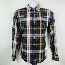 Wrangler Mens Shirt Size XL Purple Black Yellow Plaid LS Pearl Snap Western