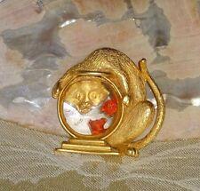 Vintage J.J. Cat Kitten Fish Bowl Pin Brooch Lucite SIGNED JJ Gold tone