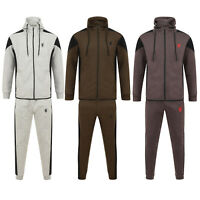 Mens Slim Fit Tracksuit Gym Set Fleece Hoodie Polo Jogging  Bottoms Joggers