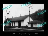 OLD LARGE HISTORIC PHOTO OF LOWELL INDIANA, THE RAILROAD DEPOT STATION c1950