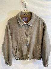 Pendleton Mens XL Gray Wool Full Zip Lined Bomber Jacket Insulated Coat Made USA