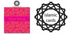 Mehndi Mubarak Orange Pink Greeting Cards 150x150mm