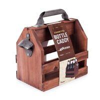 Beer Caddy Stainless Steel Bottle Opener Wooden Wine Baskets Bar Tool Barware