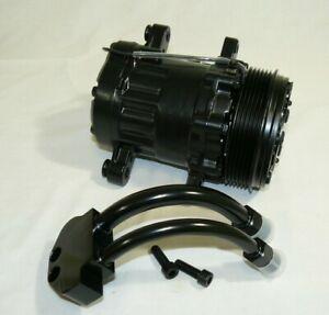 Black Mini AC Compressor Sanden SD-7 Style Serpentine Pulley W/ Curved Manifold