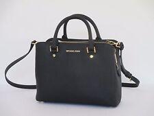 New Michael Kors Savannah Black Leather Medium Satchel Handbag $348