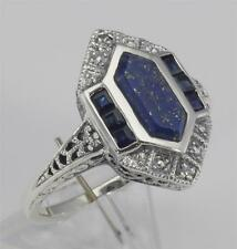 Art Deco Style Lapis Sapphire and Diamond Filigree Ring - Sterling Silver Size 7