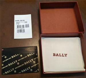 "$275 Mens Bally ""Bhar"" Embossed Logo Print Leather Logo Card Case Black/Gold"