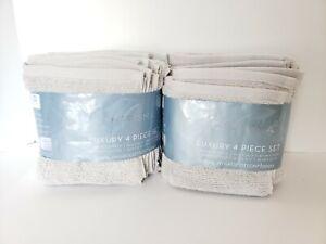 Charisma 100% Hygro-cotton 4-piece Hand-Washcloth Towel Set Platinum Gray x2