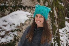 HANDMADE Soft Warm Turquoise Cat Ear Beanie Bonnet
