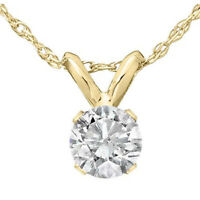 "1/3 Ct Solitaire Round Diamond Pendant Necklace 18"" 14K Yellow Gold"